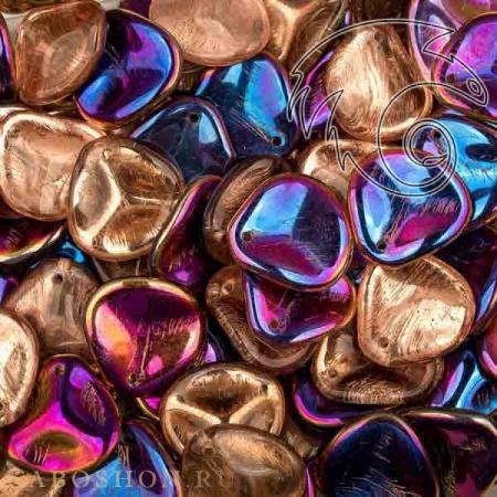 Стеклянные чешские бусины Rose Petal 14х13 мм Crystal Sliperit