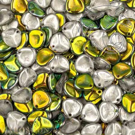 Стеклянные чешские бусины Rose Petal 8х7 мм Crystal Vitrail (10 шт)