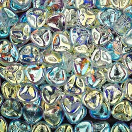 Стеклянные чешские бусины Rose Petal 8х7 мм Crystal AB (10 шт)