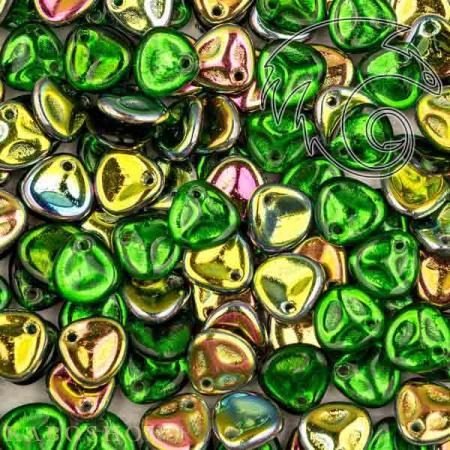 Стеклянные чешские бусины Rose Petal 8х7 мм Chrysolite Vitrail (10 шт)