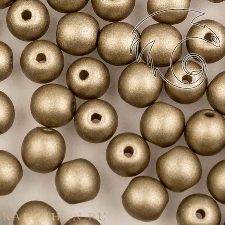 Round Beads 4 мм Alabaster Metallic Grey RoundB-4-2010-29416