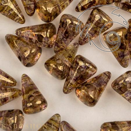 Стеклянные чешские бусины Spikes 5х8 мм Crystal Lila Gold Luster