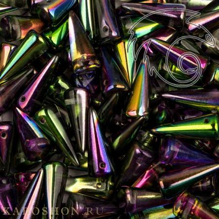 Стеклянные чешские бусины Spike 7х17 мм Crystal Magic Orchid (5 шт)