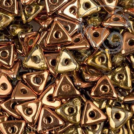 Стеклянные чешские бусины Tri-bead 4 мм Peridot Capri Gold