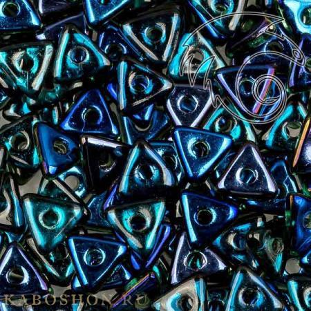 Стеклянные чешские бусины Tri-bead 4 мм Emerald Azuro