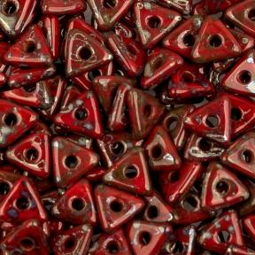 Tri-bead 4 мм Opaque Red Picasso