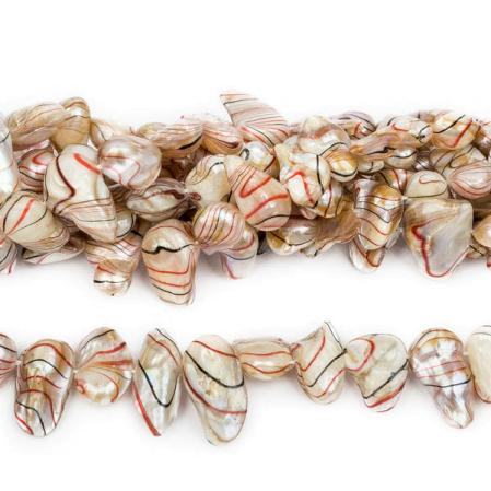 Жемчуг keishi белый с черным-красным 9-22 мм