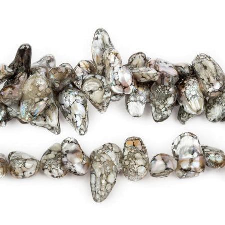 Жемчуг keishi серый с черным 15-23 мм