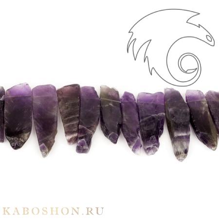 Бусины из натурального камня - Аметист плоские бусины 20-60 мм