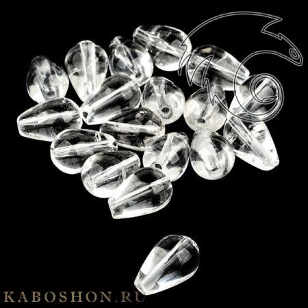 Бусины из натурального камня - Горный хрусталь капли 12х8 мм