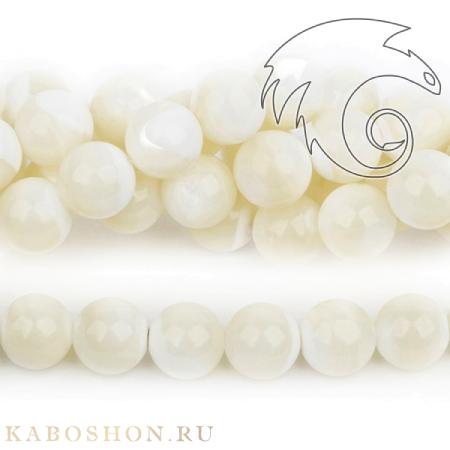 Бусины из натурального камня - Перламутр белый 10.5 мм