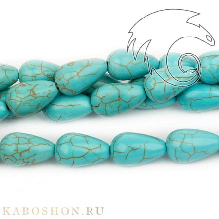 Бусины из камня - Бирюза (имитация) 16х10 мм