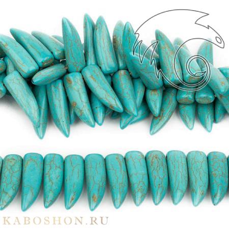 Бусины из камня - Бирюза (имитация) 30х10 мм
