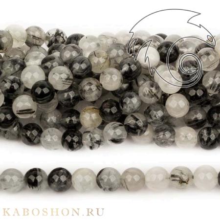 Бусины из натурального камня - Кварц с турмалином 6 мм