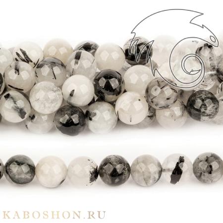 Бусины из натурального камня - из кварца с турмалином