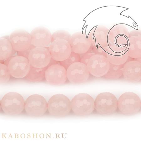 Бусины из натурального камня - Кварц розовый граненый 12 мм