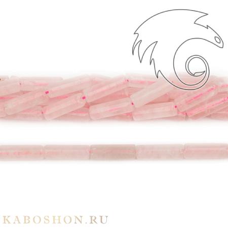 Бусины из натурального камня - Кварц розовый трубочки 13х4 мм