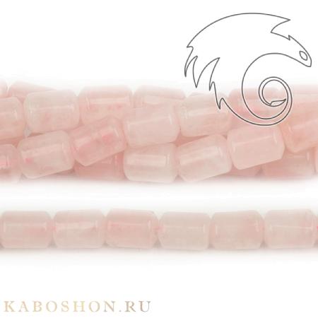 Бусины из натурального камня - Кварц розовый трубочки 13х9 мм