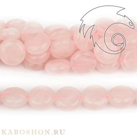 Бусины из натурального камня - Кварц розовый монетки 12 мм