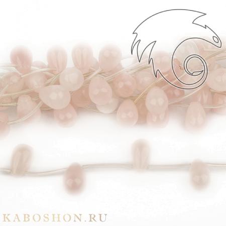 Бусины из натурального камня - Кварц розовый капли 15х10 мм