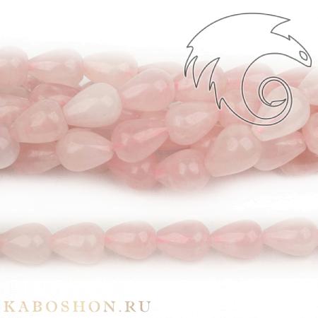 Бусины из натурального камня - Кварц розовый капли 14х10 мм (бусины просверлены вдоль)