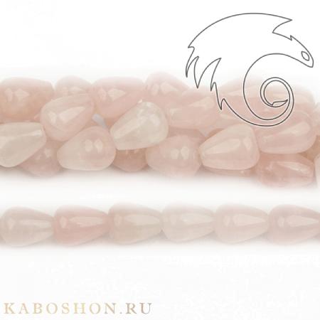 Бусины из натурального камня - Кварц розовый капли 16х12 мм (бусины просверлены вдоль)