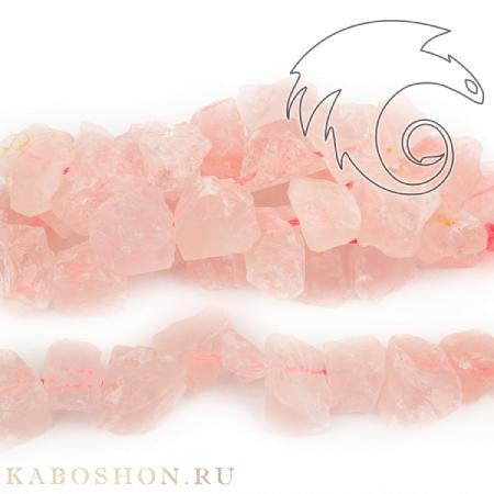Бусины из натурального камня - наггетсы розовый кварц