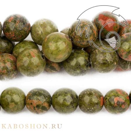 Бусины из натурального камня - Унакит 12 мм