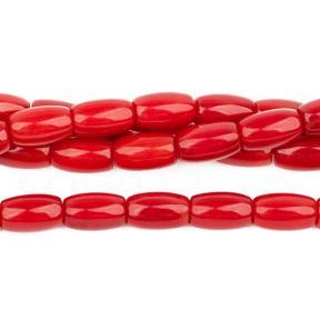 Коралл тонированный красный бочонки 8х5 мм