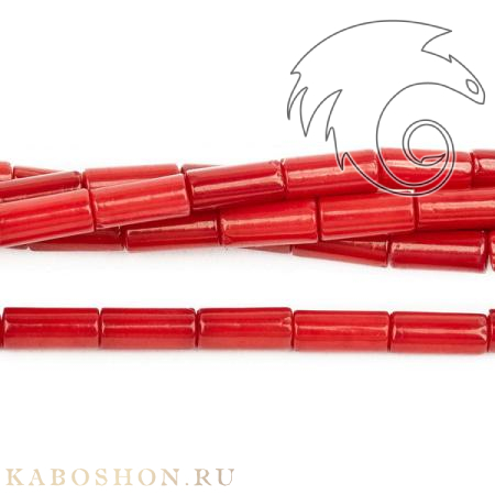 Бусины из натурального камня - Коралл тонированный красный трубочки 9х3 мм