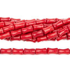 Коралл тонированный красный бамбук 9х5 мм