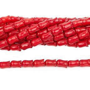 Коралл тонированный красный бутончик 8х5 мм