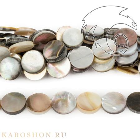 Бусины из натурального камня - Перламутр черный монетки 12 мм