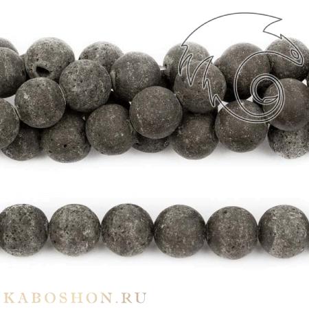 Бусины из натурального камня - Лава черная 10 мм