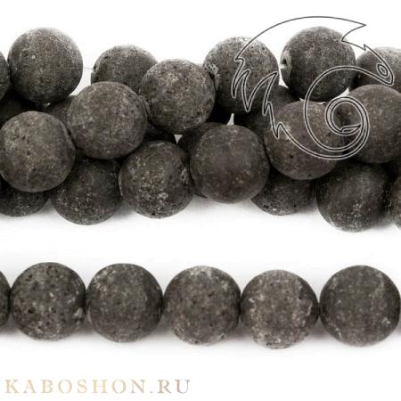 Бусины из натурального камня - Лава черная 12 мм