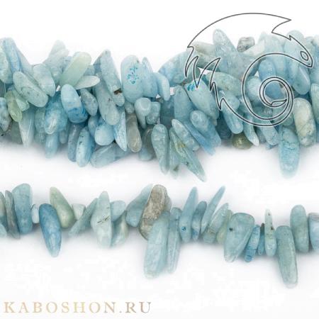 Каменная крошка для бус - Аквамарин тонированный