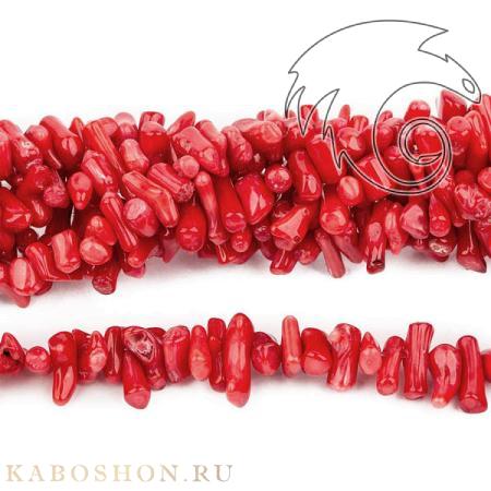 Каменная крошка для бус - Коралл красный тонированный