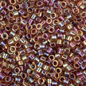 Бисер Delica 11-0 Окрашенный изнутри клюква радужный светлый топаз