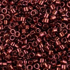 Бисер Delica 11-0 Глянцевый прозрачный красный металлик