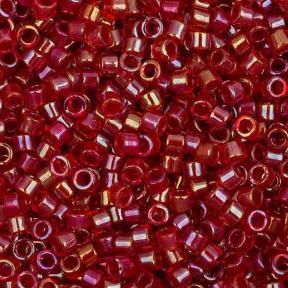 Бисер Delica 11-0 Окрашенный изнутри радужный красный-рубин
