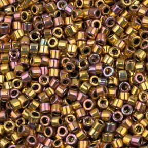 Бисер Delica 11-0 Металлизированный золотом 24К розовый ирис