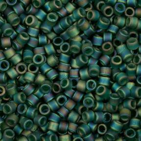 Бисер Delica 11-0 Матовый радужный прозрачный изумрудный