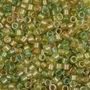 Бисер Delica 11-0 Окрашенный изнутри микс янтарь-перидот
