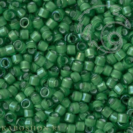 Бисер Delica 11-0 Окрашенный изнутри белый - радужный зеленый