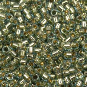 Бисер Delica 11-0 Окрашенный изнутри голубая вода-золотое покрытие 24K