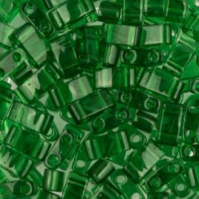 Бисер Half Tila Прозрачный зеленый