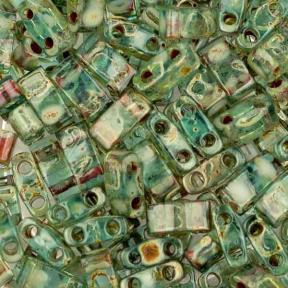 Бисер Half Tila Пикассо прозрачный оливковый