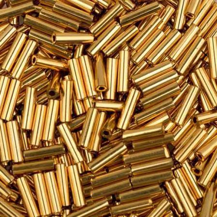 Стеклярус Miyuki 6 мм Золотое покрытие 24К