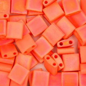 Бисер Tila Радужный прозрачный матовый оранжевый