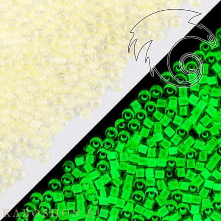 Бисер Toho Желтый/светящийся в темноте ярко-зеленый